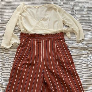 SATIN STRIPE JUMPSUIT WITH WHITE BLOUSE ATTACHED